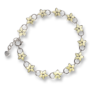 Sterling Silver Stephanotis Floral Bracelet-Yellow.