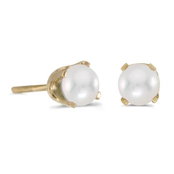 4 mm Round Freshwater Cultured Pearl Screw-back Stud Earrings in 14k Yellow Gold