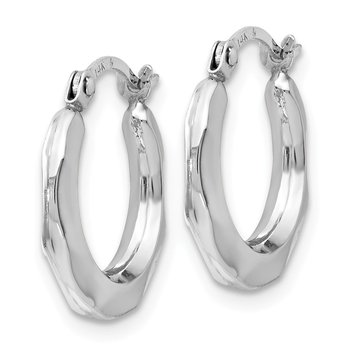 Leslie's 14K White Gold Polished Hinged Hoop Earrings