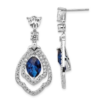 Cheryl M Sterling Silver Lab cr. Dark Blue Spinel & CZ Post Dangle Earrin