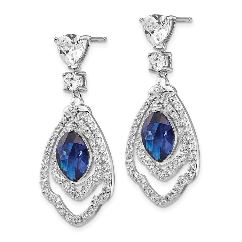 Cheryl M Cheryl M SS RhodPlated Lab cr. Dark Blue Spinel & CZ Post Dangle Earrings