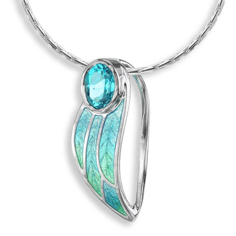 Nicole Barr Designs Blue Contoured Leaf Necklace.Sterling Silver-Blue Topaz