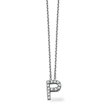 "Diamond Block Initial ""P"" Necklace in 14k White Gold with 13 Diamonds weighing .10ct tw."