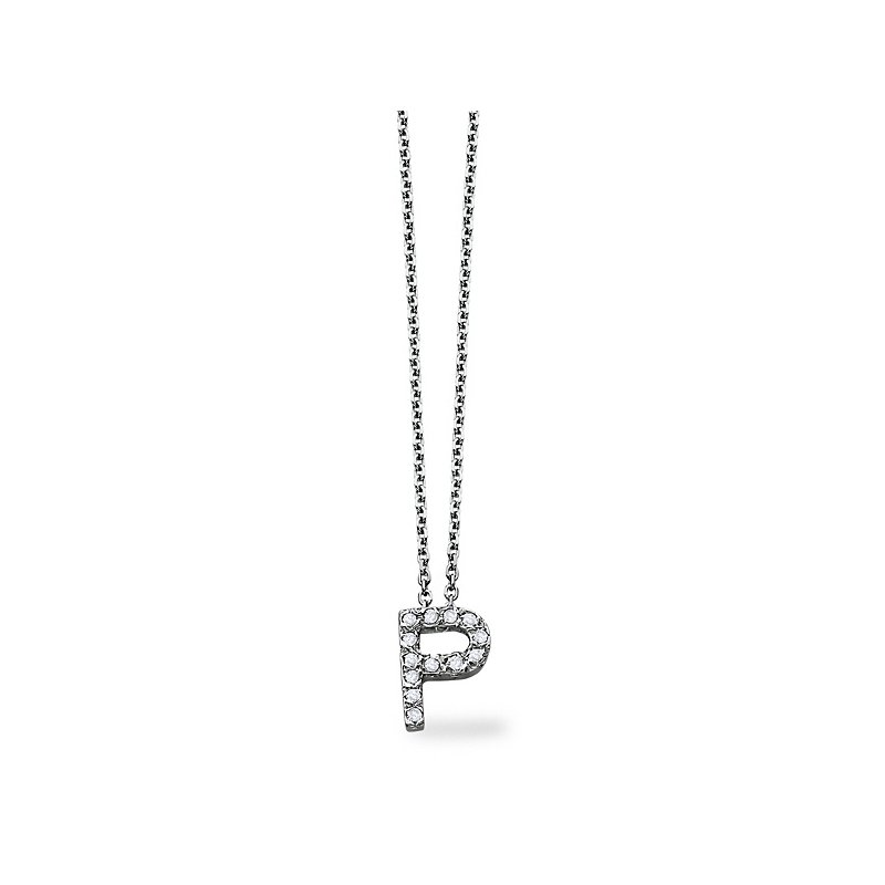 "KC Designs Diamond Block Initial ""P"" Necklace in 14k White Gold with 13 Diamonds weighing .10ct tw."