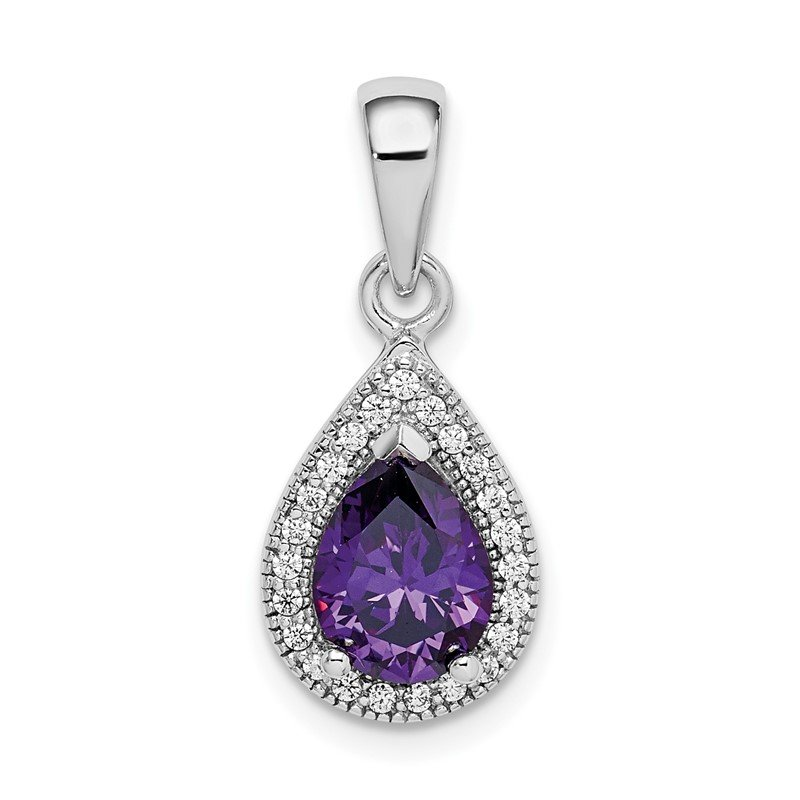 Quality Gold Sterling Silver Rhod Plated Purple and Clear CZ Pendant