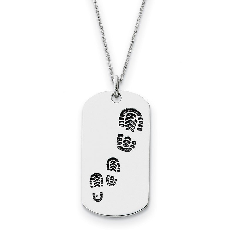 Quality Gold Sterling Silver Antiqued Footsteps 18in Dog Tag Necklace