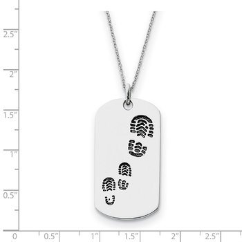 Sterling Silver Antiqued Footsteps 18in Dog Tag Necklace