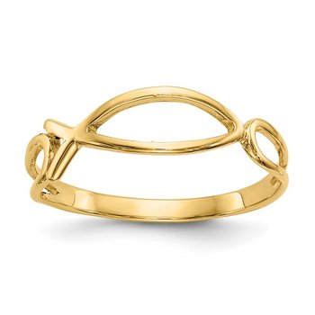 14k Polished Ichthus Fish Ring