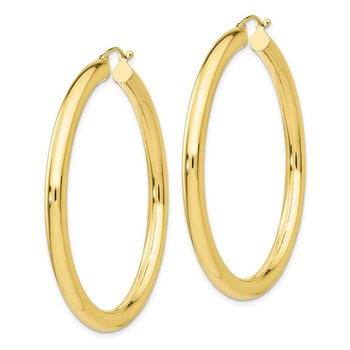 10K Polished 4mm Tube Hoop Earrings