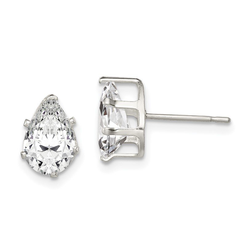 J.F. Kruse Signature Collection Sterling Silver 9x6 Pear Snap Set CZ Stud Earrings