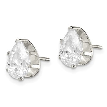 Sterling Silver 9x6 Pear Snap Set CZ Stud Earrings