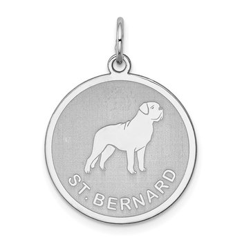 Sterling Silver Rhodium-plated St. Bernard Disc Charm