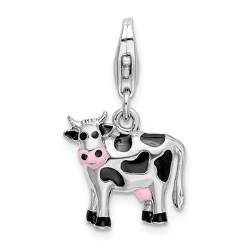 Sterling Silver Amore La Vita Rhodium-plated Enameled 3D Cow Charm
