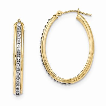 14k Diamond Fascination Oval Hoop Earrings