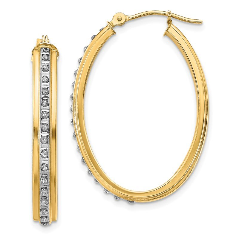Quality Gold 14k Diamond Fascination Oval Hoop Earrings
