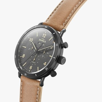 Watch: Canfield Sport 45mm, Natural Leather Strap