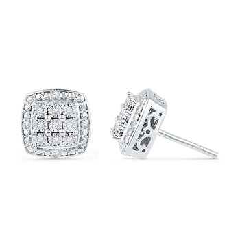 0.11 CTTW Sterling Silver Diamond Stud Earrings