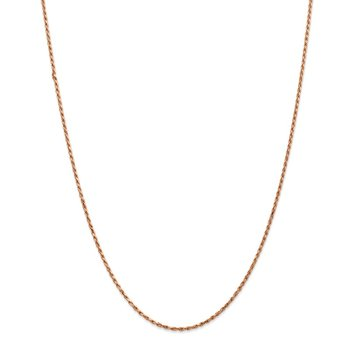 14k Rose Gold 1.8mm D/C Machine-made Rope Chain Anklet