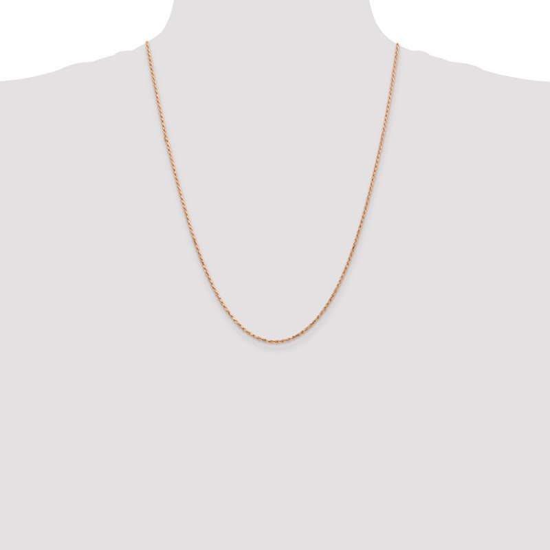 Quality Gold 14k Rose Gold 1.8mm D/C Machine-made Rope Chain Anklet
