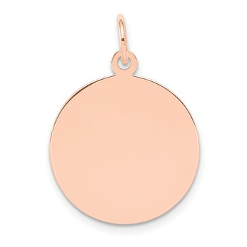 14k Rose Gold Plain .027 Gauge Circular Engraveable Disc Charm