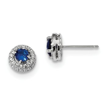 Sterling Silver Brilliant Embers Rhodium-plated White and Blue CZ Earrings