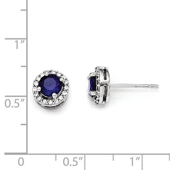 Sterling Silver White & Blue CZ Brilliant Embers Polished Earrings