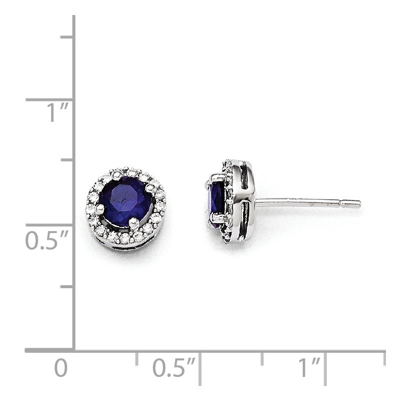 Quality Gold Sterling Silver Brilliant Embers Rhodium-plated White and Blue CZ Earrings