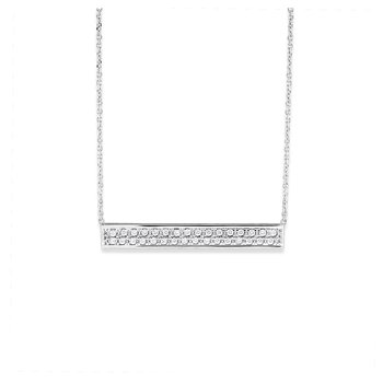 Diamond Bar Necklace in 14K White Gold with 32 Diamonds Weighing .33 ct tw