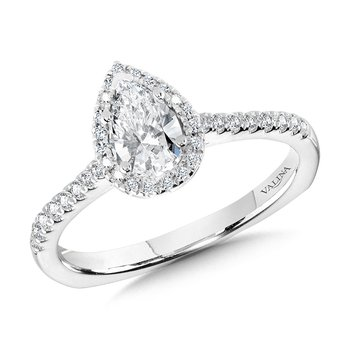 Pear Diamond Straight Halo Engagement Ring