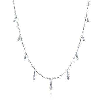 "17.5"" 14K White Gold Dangling Diamond Station Necklace"