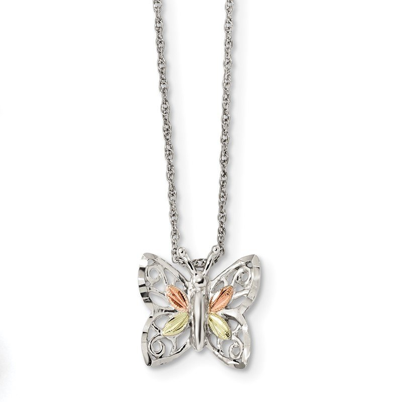 Quality Gold Sterling Silver & 12k Butterfly Necklace