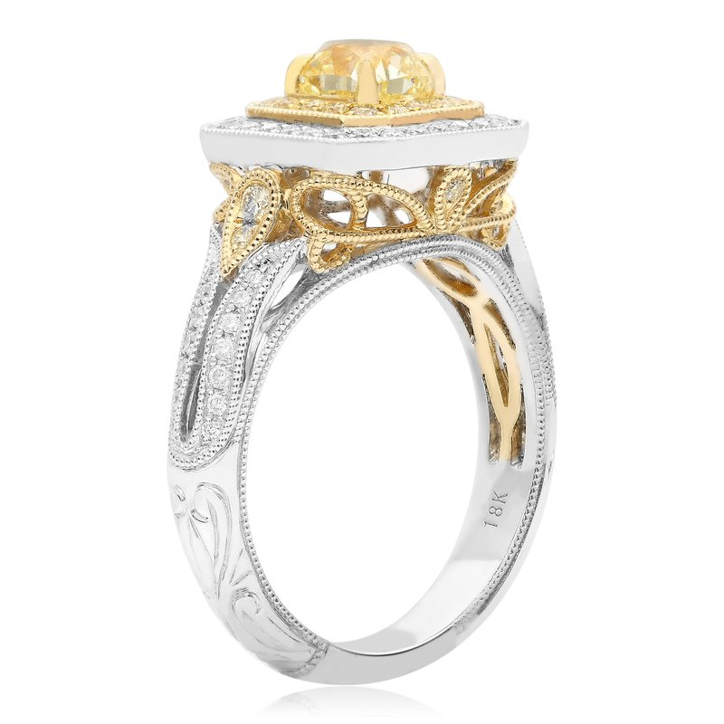 Roman & Jules Milgrain Double Halo Diamond Ring