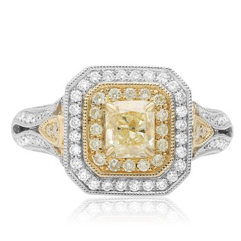 Milgrain Double Halo Diamond Ring