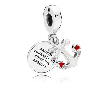 Anchor Of Love Dangle Charm, Red Black Enamel