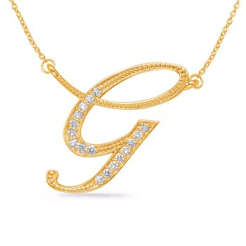 Yellow Gold Diamond Initial G Pendant