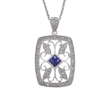 14k White Gold Sapphire and Diamond Filigree Pendant