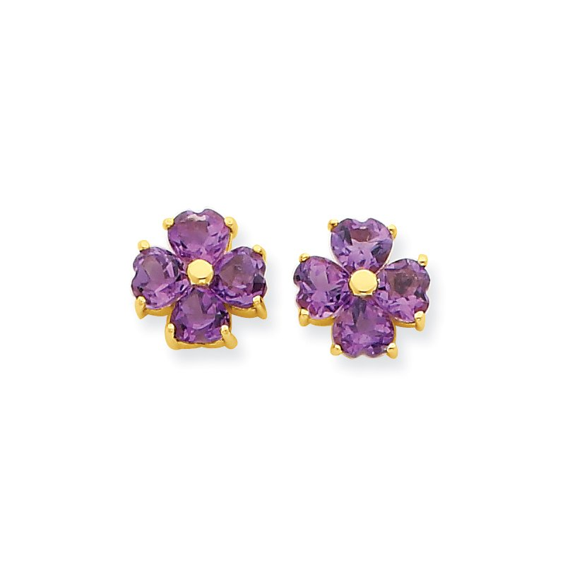 Quality Gold 14k Heart-shaped Amethyst Flower Post Earrings