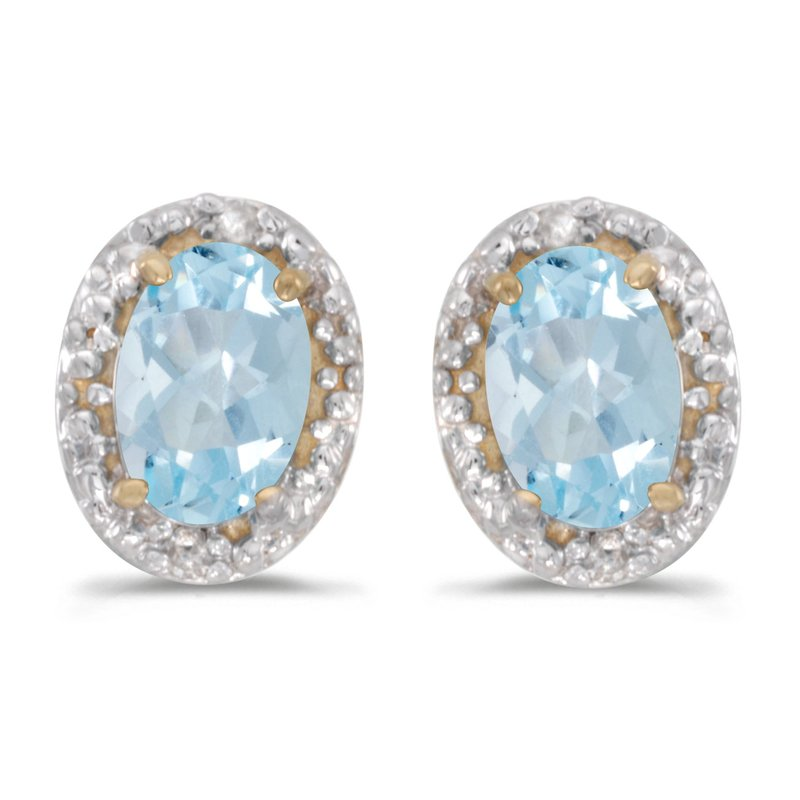 Color Merchants 10k Yellow Gold Oval Aquamarine And Diamond Earrings