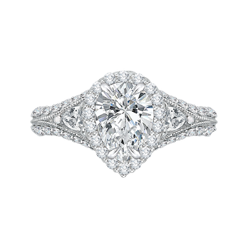 Pear Diamond Halo Engagement Ring In 18K White Gold with Split Shank (Semi-Mount)