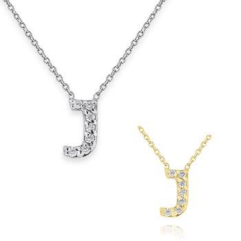 Diamond Bitty Block Initial J Necklace