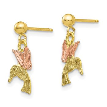 10k Tri-color Black Hills Gold Post Dangle Earrings