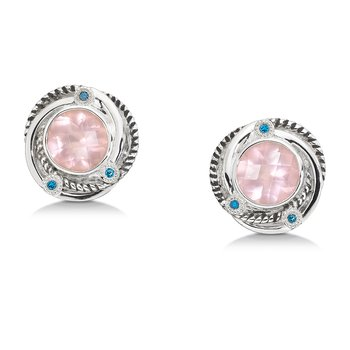 Sterling silver,  rose quartz and blue diamond earrings