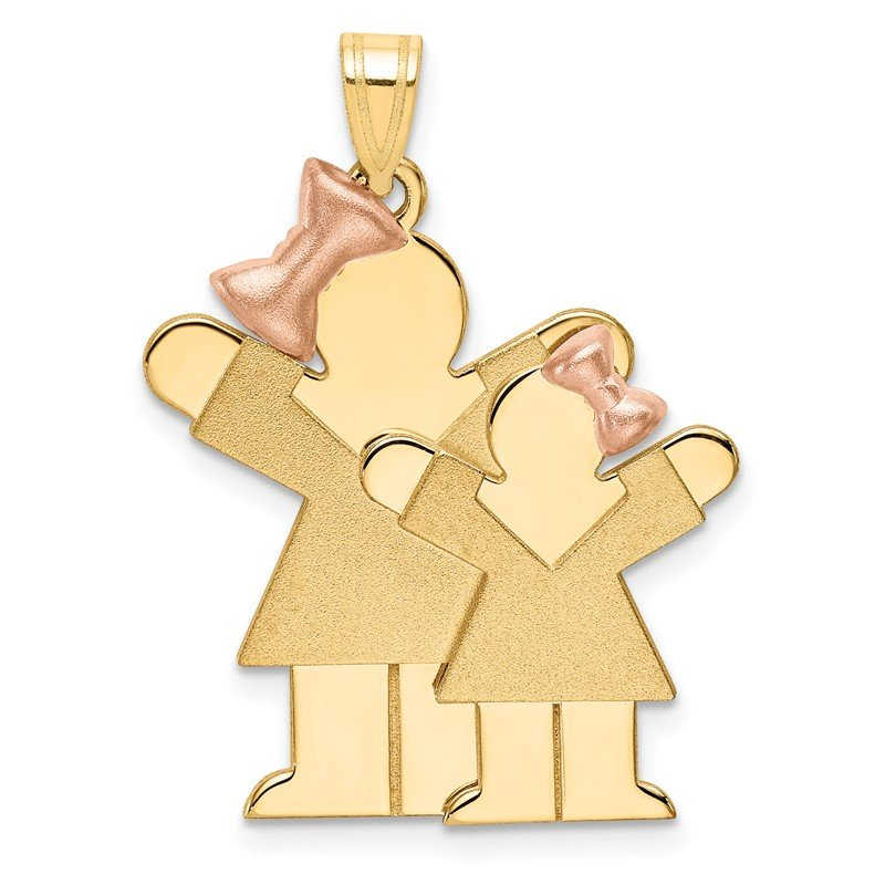 Quality Gold 14k Two-Tone Big Girl and Little Girl Engravable Charm