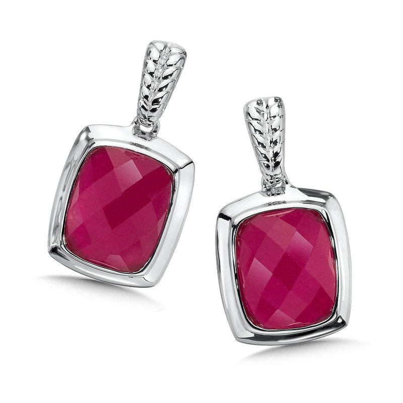 Colore Sg Sterling Silver Dyed Fuchsia Quartz Post Earrings