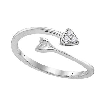 Sterling Silver Womens Round Diamond Bisected Arrow Band Ring 1/20 Cttw