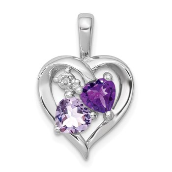 Sterling Silver Rhodium Amethyst & Light Pink Quartz & Diamond Pendant