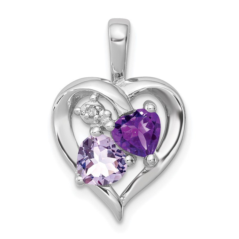 Quality Gold Sterling Silver Rhodium Amethyst & Light Pink Quartz & Diamond Pendant