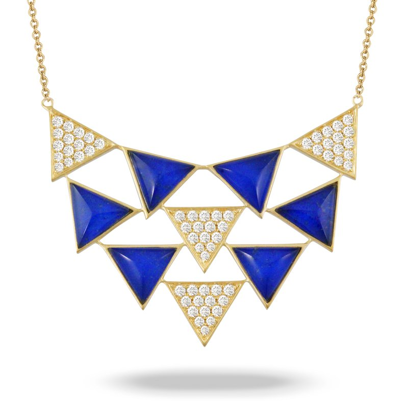 Doves Royal Lapis Triangles Pendant 18KY