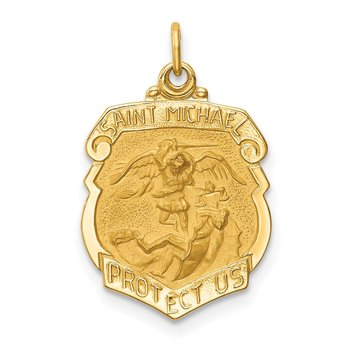 14k Solid Polished/Satin Small St. Michael Badge Medal