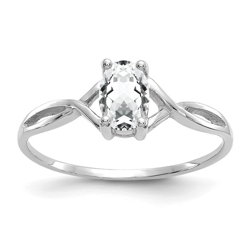 Quality Gold 14k White Gold White Topaz Birthstone Ring